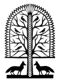 """Foxes and Crows, hand cut paper on paper, 10"""" x 8"""", Sold - limited prints available"""