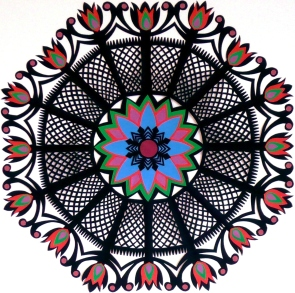 "Red Garden Gwiazdy, hand cut paper on paper, 12"" x 12"", Sold - Available in card set"