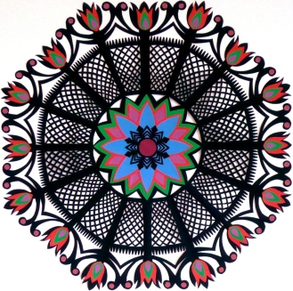 """Red Garden Gwiazdy, hand cut paper on paper, 12"""" x 12"""", Sold - Available in card set"""