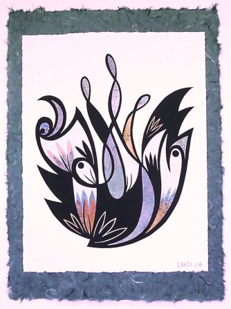 """Sea Garden, hand cut paper, mixed media on paper, 28"""" x 22"""", Sold"""