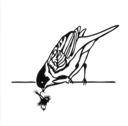 "Bird Holding Humpy Fly, hand cut paper on paper, 5"" x 5"", $125"
