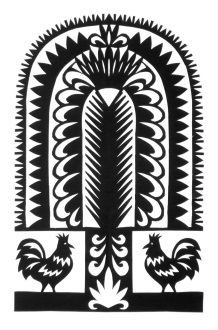 """Roosters Under Tree, hand cut paper on paper, 7"""" x 5"""", Sold - greeting cards available"""