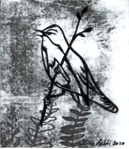 "Fern Bird, hand cut paper and print on paper, 4"" x 3"", Sold"