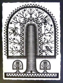 "Hummingbirds, hand cut paper on paper, 30"" x 24"", $675"