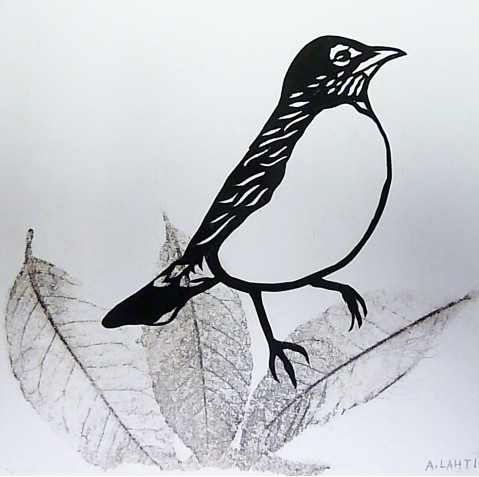 "Robin on Leaf, hand cut paper and print on paper, 5"" x 5"", Sold"