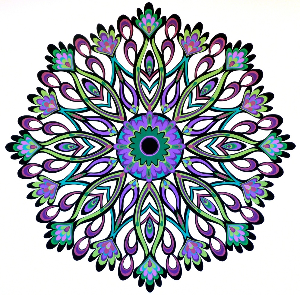"""Serenity in Purples and Greens, hand cut paper on paper, 20"""" x 20"""", Sold (custom order)"""