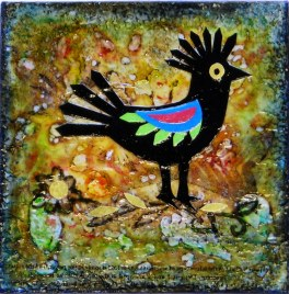 "Wycinanki Echo Bird, mixed media on board, 3"" x 3"", Sold - Limited cards available"
