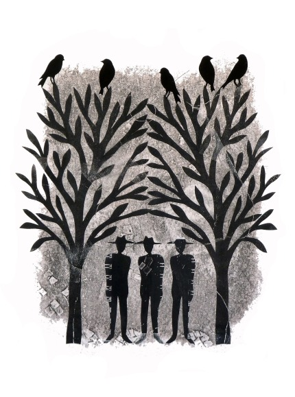 """Watchers, hand cut paper and print on paper, 10"""" x 13"""""""