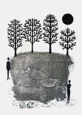"""Stranger, hand cut paper and print on paper, 12"""" x 15"""", Sold"""