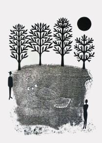 "Stranger, hand cut paper and print on paper, 12"" x 15"", Sold"