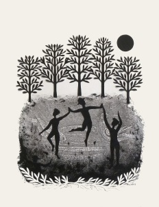 """By the Light of the Moon II, hand cut paper and print on paper, 12"""" x 15"""""""