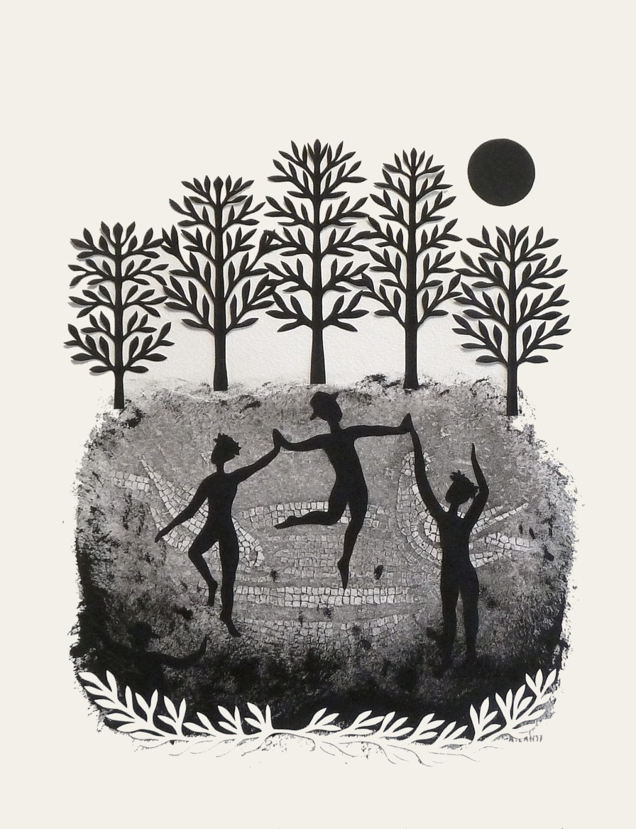 "By the Light of the Moon II, hand cut paper and print on paper, 12"" x 15"""