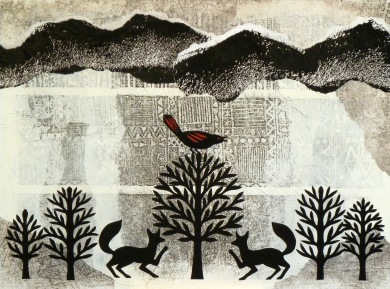 Echo of the Before Times, , hand cut paper, print, acrylic on paper
