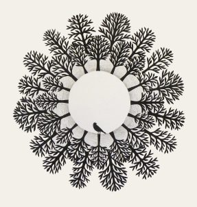 Encircled, hand cut paper and graphite on paper